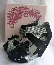 New Ruby Shoo Goldie Black Wedge High Heel Platform Peeptoe Shoes Sz 5 Boxed