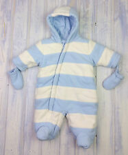 Baby Boys GEORGE Blue & White Thick Padded Snowsuit Pram Suit Coat Newborn VGC
