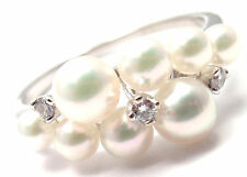 Authentic! Mikimoto 18k White Gold Diamond Pearl Ring