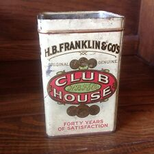 Club House 5 Cent Cigar Store Display Tin 25 Can H. B. Franklin & Co's Tobacco