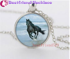 Running Free Mustang Cabochon Glass silver necklace for women men Jewelry