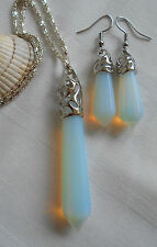 Opalite opal natural gemstone jewellery set silver plated necklace earrings