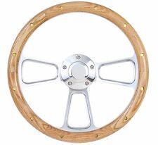 """Falcon Thunderbird Galaxie Steering Wheel Oak Wood w/ rivets Billet 14"""" Ford Cap"""