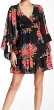 "NWT BETSEY JOHNSON ""Bambi"" FLORAL Pink Red ROSE Ruffles Angel Sleeved DRESS 4"
