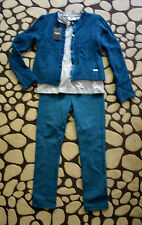 New Authentic Fendi Roma Girl's Blue Outfit Set (Pants, Shirt, Sweater) 6 Years