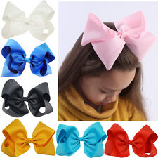 8 Inch 15 pcs/lot Large Girls Hair Bows Grosgrain Ribbon Clip Hair Accessories