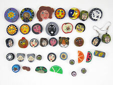 BIG LOT 38 PIECES HANDCRAFTED POLYMER CLAY BEADS BUTTONS EARRINGS FACES ANIMALS