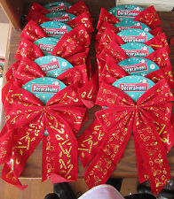 CHRISTMAS WHOLESALE LOT Of 12 GOLD & RED Christmas BOWS  NEW In Package