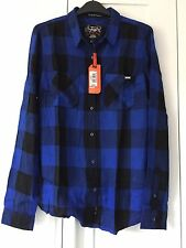 Women's Superdry Classic Boyfriend Shirt. Large. Buffalo Colbalt Check. BNWT.