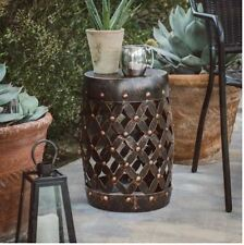 Garden Stool Plant Stand Outdoor Home Decor Patio Accent Side End Table Metal