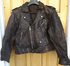 "MEN`S VINTAGE REAL LEATHER BIKER JACKET SIZE LARGE 42"" (EU 52) BROWN PERFECTO"