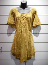 Top Fits XL 1X 2X 3X Plus Tunic Gold Brown Lace Up Chest Sleeve A Shape NWT 787
