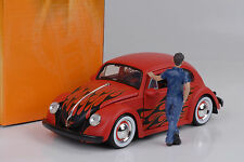 1959 Volkswagen Beetle Flames tuning red rojo Baby Moon rims 1:24 jada no figura