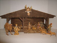 "VTG Xmas Nativity Set 11 Depose Italy Figures 22"" Wood Stable Music Box Lighted"