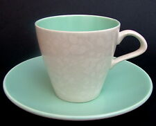TWO Poole Twintone Ice Green & Seagull Contour Tea / Coffee Cups & Saucers VGC
