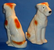 Pair Antique ~ Dog Figurines ~ Wirehair Fox Terrier ~ Porcelain Germany #1820
