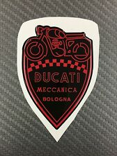 1 Stickers Scudetto DUCATI Meccanica Vintage Black & Red 3D resinato 70 mm