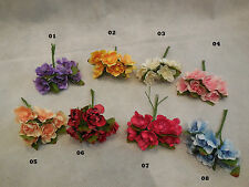 6 mini Fabric Flowers +Wire Stems For Wedding bridal Crown Craft 8colour choices