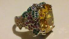 Rock Goddess Cocktail Ring with Large Citrine and Floral shank. Size O. RRP £175