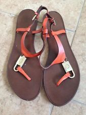 Tory Burch 'Padlock' Leather Thong Sandals Size 8 $275+
