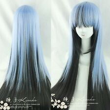 Blue Black MIx  Long Hair Straight Full Lolita Glamour Anime Wig Cosplay Costume
