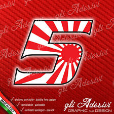 Adesivo Stickers NUMERO 5 moto auto cross gara JAPAN 10 cm