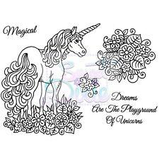 Sweet Dixie Unicornio claro Sellos fantasía mágica sueños Flores Cardmaking Craft