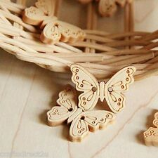50 Wooden Butterfly Buttons - Scrapbooking - Crafting - Sewing - UK SELLER!!