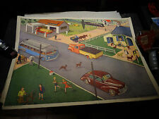 Ancienne Affiche Scolaire Rossignol lStation Esso Autocar Isobloc & Peugeot 203
