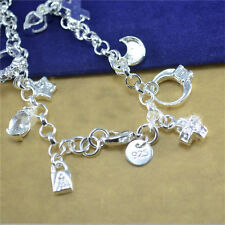 Fashion 13 Charm pendants Bracelet Girls Wedding Jewelry LT