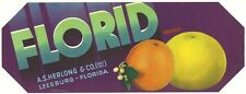 Florid Brand Florida Citrus Crate Label A.S. Herlong Packing Co. Leesburg  Fl.