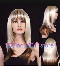 SEXY LADIES LONG STRAWBERRY BLONDE & PALE BLONDE MIX STRAIGHT WIGS+WIG CAP GIFT
