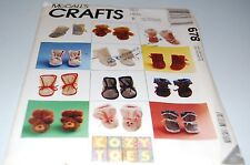 McCalls Pattern # 678 - Eight Styles Baby Booties - Size 0 - 12 Months - NEW