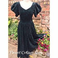 Vintage Black & Green Velvet Button Back Gothic 80s Dress Laura Ashley Sz 10