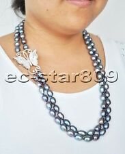 """P6230 2Row 24"""" 14mm Peacock-Black Rice Freshwater PEARL CZ Butterfly NECKLACE"""