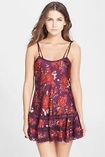 NWT FREE PEOPLE SzL FLORAL PRINT SATIN SLIP WITH LACE TRIM IN PLUM COMBO $88