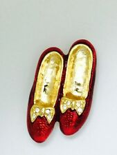 Gold Plated Fashion Red Enamel Shoes Brooch Set With Rhinestones