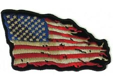 "(H19) TATTERED US FLAG Red/Wht/Blue 4"" x 3"" iron on patch (5139) Biker Patches"