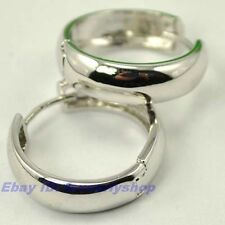 "0.78"" SMOOTH CIRCLE CLASSICAL 18K WHITE GOLD PLATED HOOP EARRINGS SOLID GEP f11"