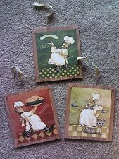 3 Chef Pictures Fat Chefs Kitchen Wall Hangings Decor Cooks