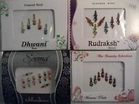 4 Pack Diamante Bindis-Stick On Bollywood Indian Body Art Tattoo Jewel Mixed 4
