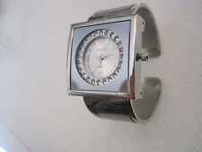 Terner Silver-Tone Women's Cuff Watch, Square Face, Circle of Crystals on Dial