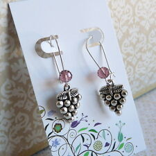 Grapes Grape Juice Jam Jelly Wine Lover Silver Plated Kidney Wire Earrings