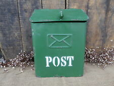 Metal MAILBOX with Lid - Bird Handle - Wall Mount VTG Green Letter MAIL BOX