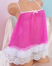 VTG style All Antron chiffon nylon sissy sheer night gown Peignoir MINI Camisole