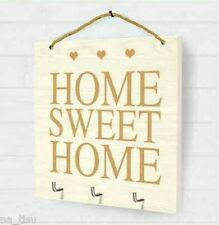 Wall Keys Hanger Hooks Home Sweet Home wooden White Hooked Plague Rack Holder