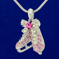 "Shoes W Swarovski Crystal Pink Ice Skating Figure Hockey 18"" Chain Necklace"