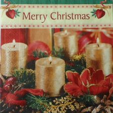 4 X Solo Papel Servilletas Feliz Navidad Decoupage elaboración de velas de oro -88