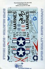 SuperScale Decals 1:48 F-4J/N Phantoms VMFA-212 & VF-171 KW #48-1143