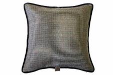 Tan & Olive Dogtooth / Brown Velvet Brown velvet piping, 48x48